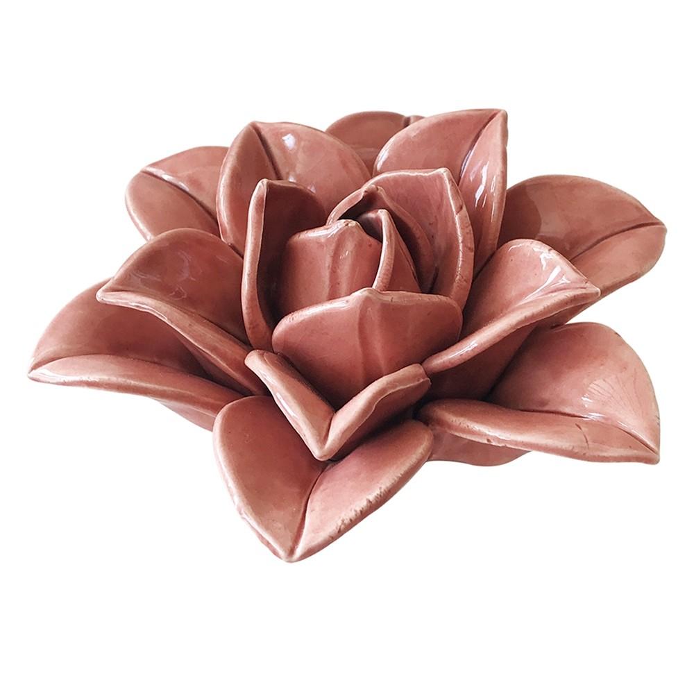 Peça Decorativa de Cerâmica Flor Rosa - BTC Decor