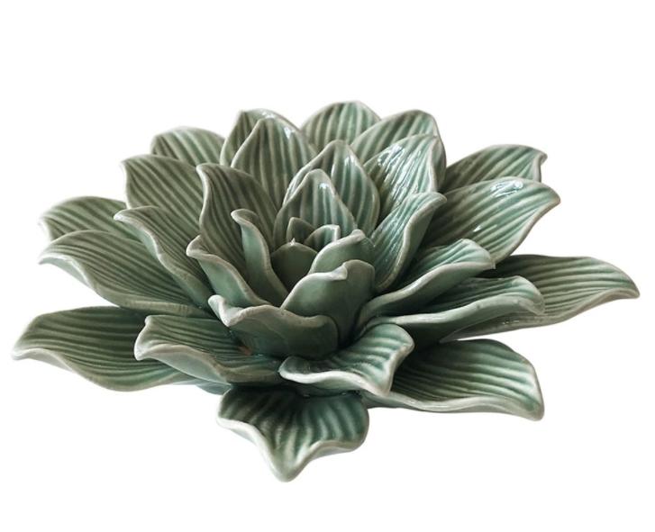 Peça Decorativa de Cerâmica Flor Verde - Mart Colelction  - Haus In