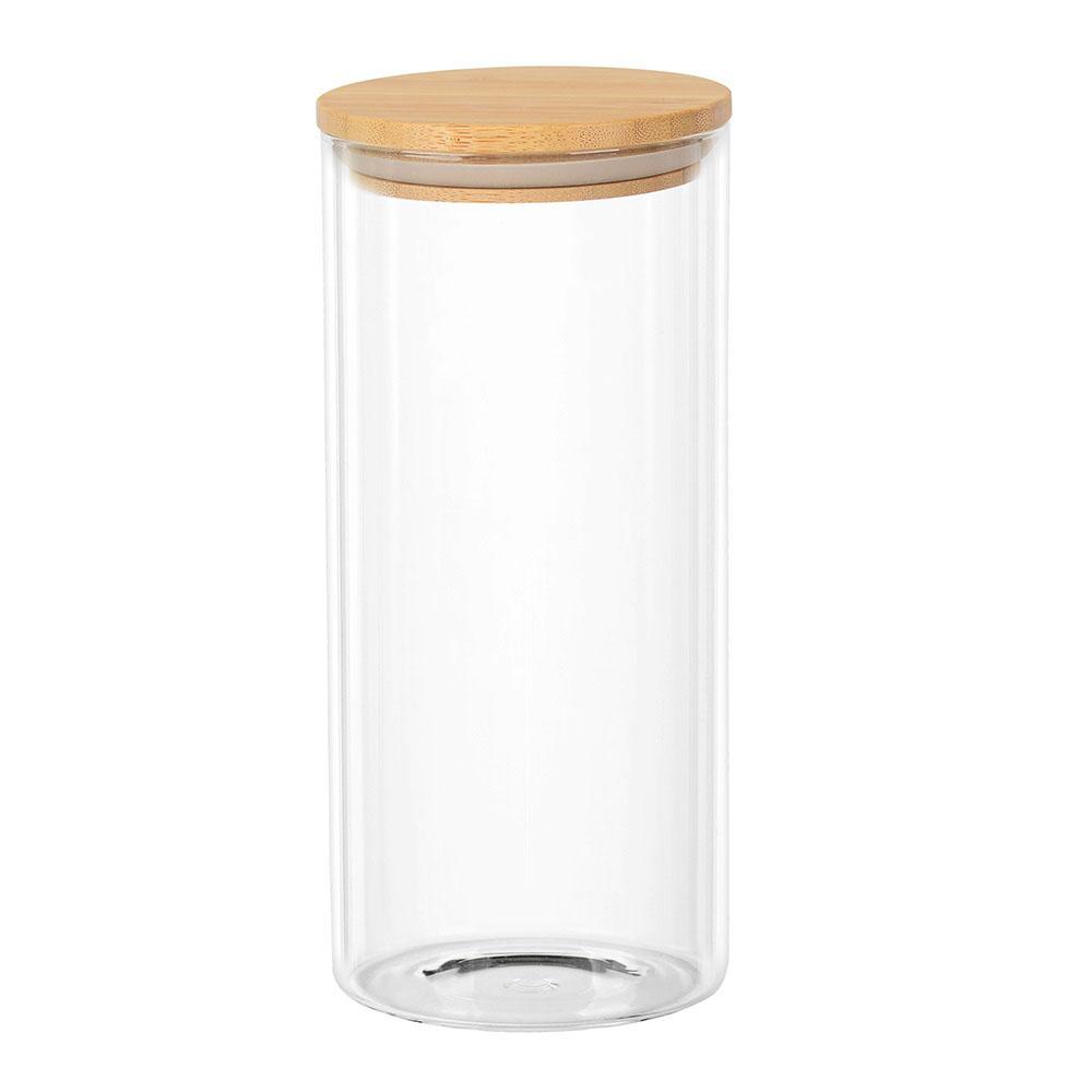 Porta Mantimento Redondo em Vidro com Tampa de Bambu 1,4L - Dynasty