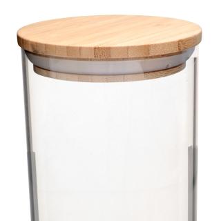 Porta Mantimento Redondo em Vidro com Tampa de Bambu 1,8L - Dynasty
