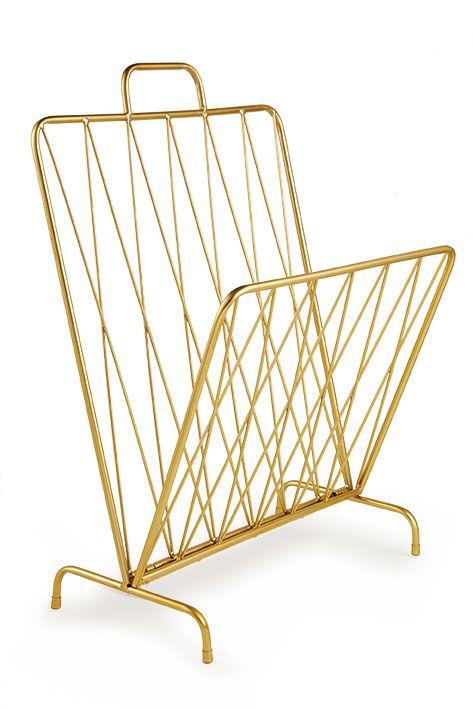 Porta Revistas Dourado em Metal - Mart Collection