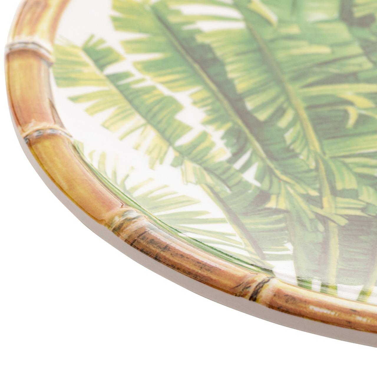 Prato Sobremesa Melamina Palm Tree Branco 22cm - Bon Gourmet