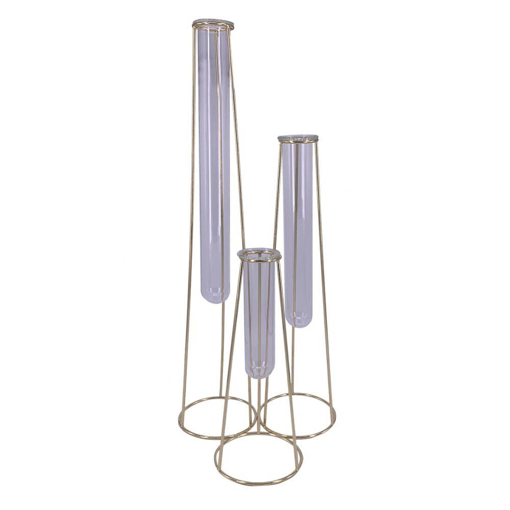 Vaso  Três Tubos de Vidro e Metal Dourado - BTC Decor