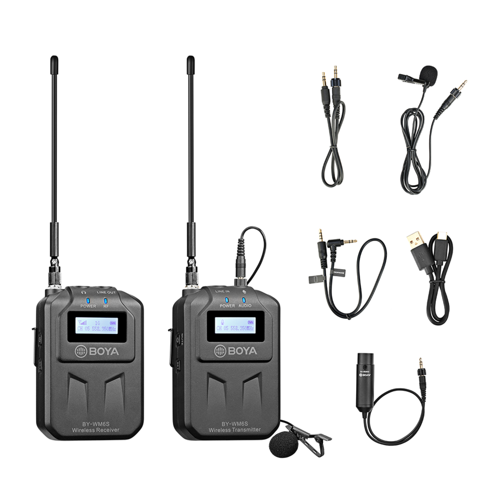 BOYA UHF Sistema de Microfone de Lapela Wireless BY-WM6S