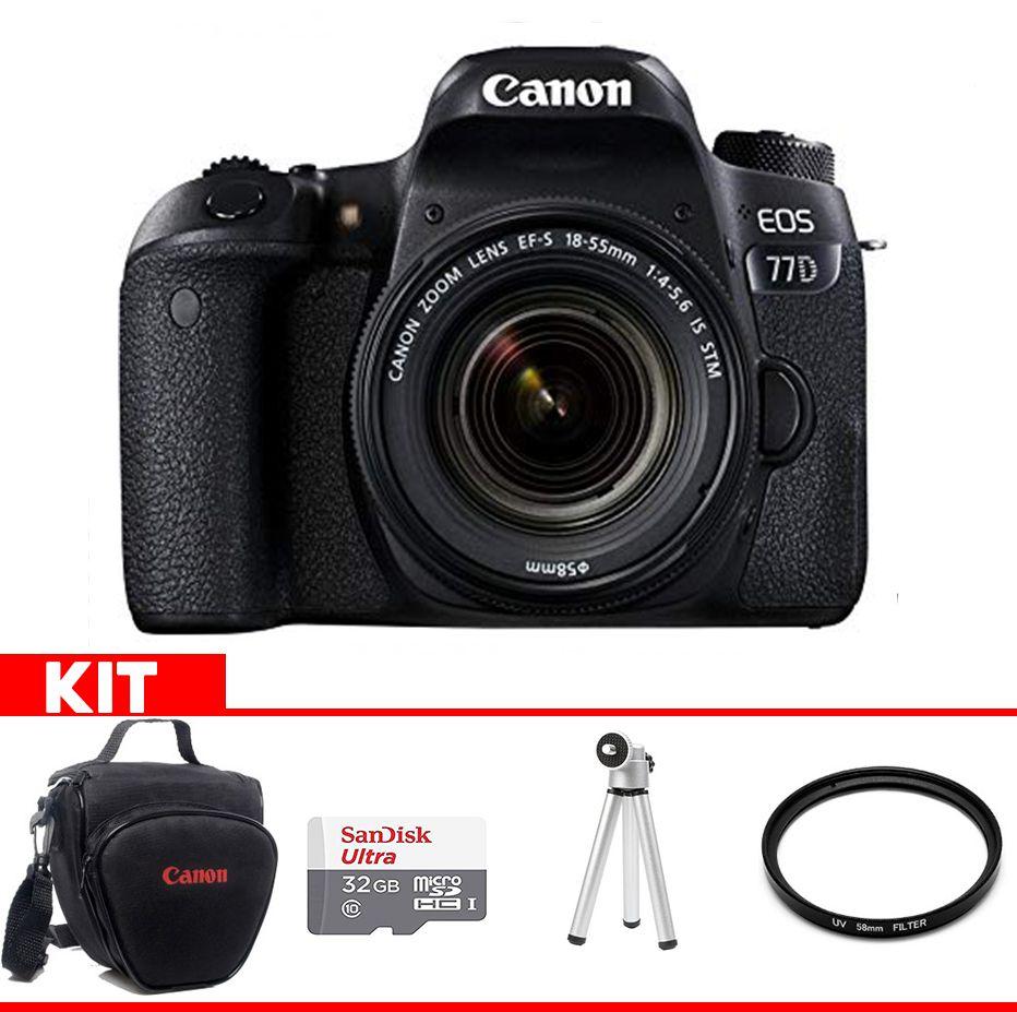 Camera Canon 77D Kit  com bolsa Canon + cartão 32GB MIcro + Mini tripé + Filtro UV