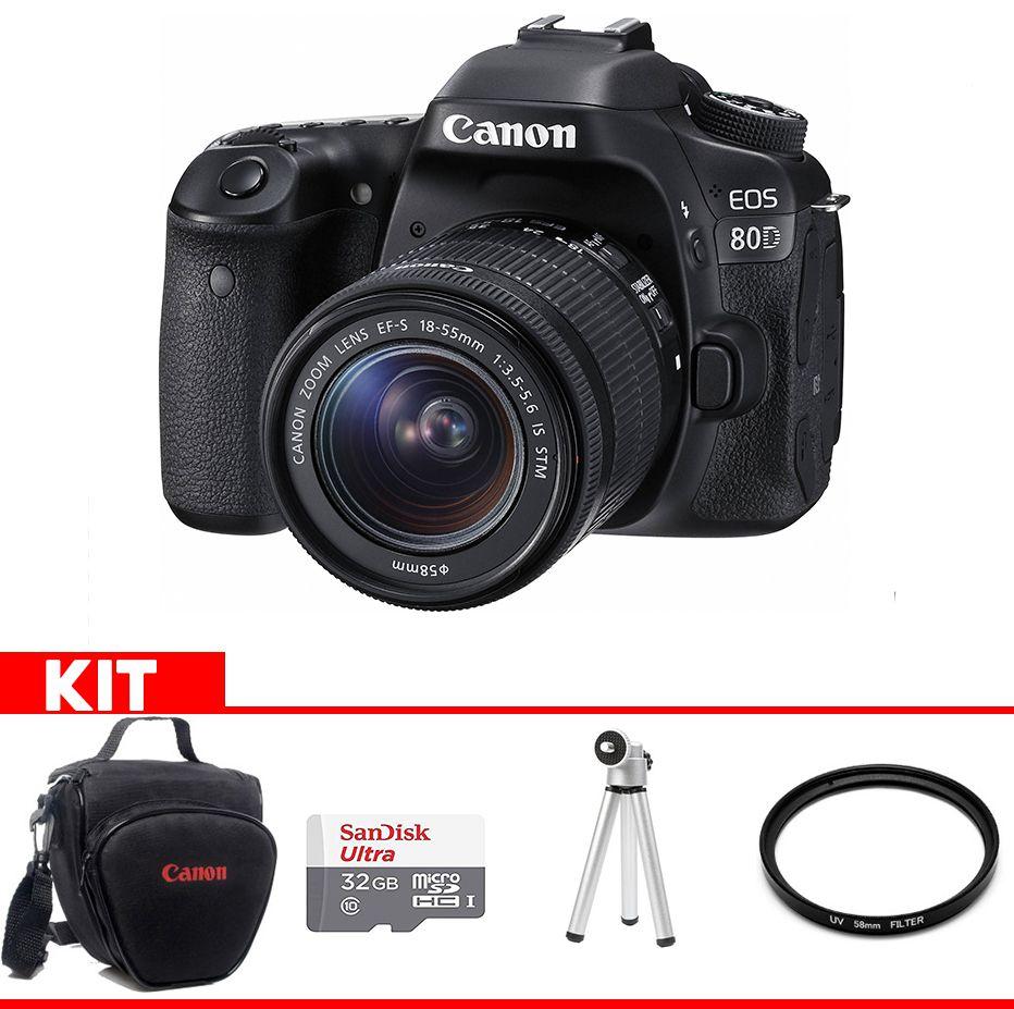 Camera Canon 80D Kit  com bolsa Canon + cartão 32GB MIcro + Mini tripé + Filtro UV