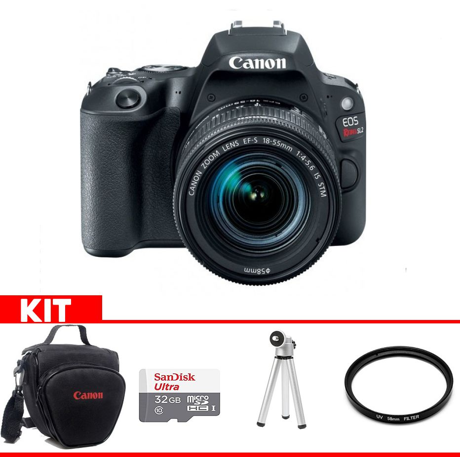 Câmera Canon SL2 Kit  com bolsa Canon + cartão 32GB MIcro + Mini tripé + Filtro UV