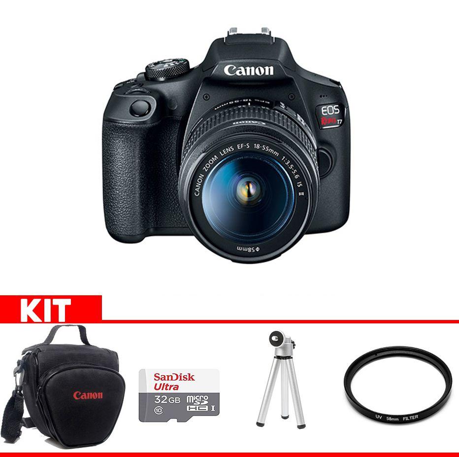 Camera Canon T7 Kit  com bolsa Canon + cartão 32GB MIcro + Mini tripé + Filtro UV
