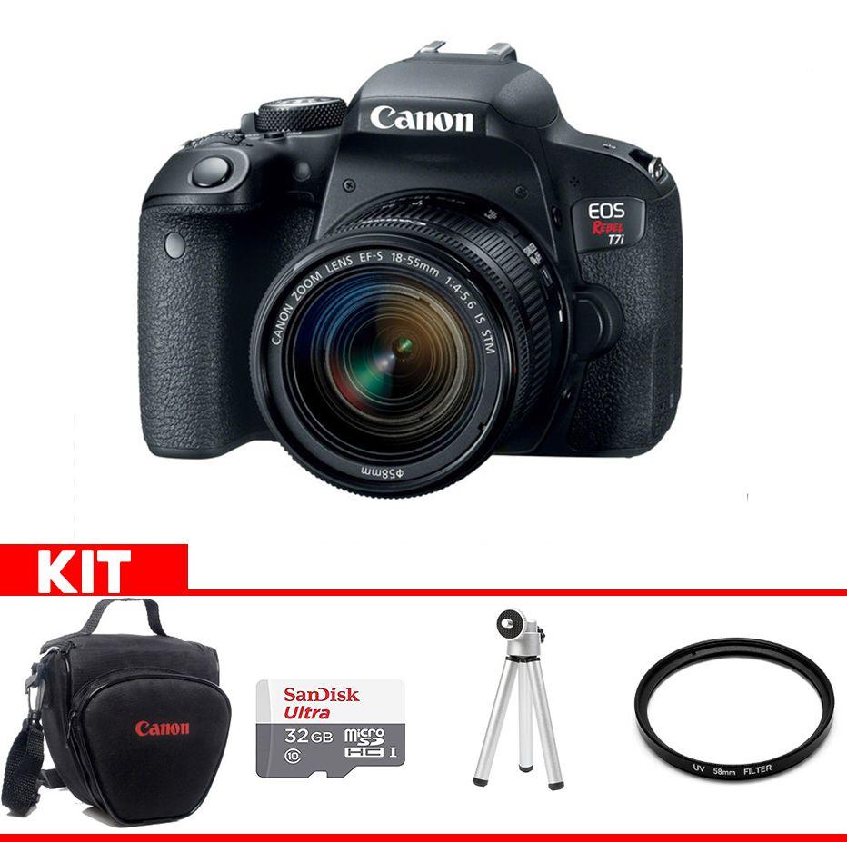 Camera Canon T7i Kit  com bolsa Canon + cartão 32GB MIcro + Mini tripé + Filtro UV