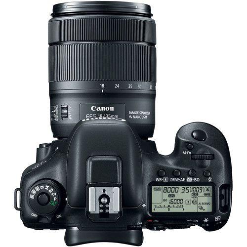 Câmera DSLR Canon EOS 7D Mark II com 18-135 mm f/3.5-5.6 IS Adaptador USM Lens & W-E1 Wi-Fi