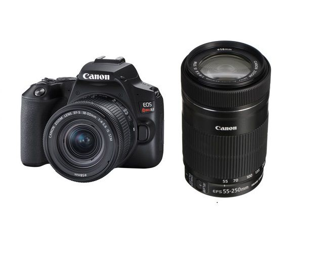 Câmera DSLR Canon EOS Rebel SL3 com kit de lentes de 18-55mm e 55-250mm
