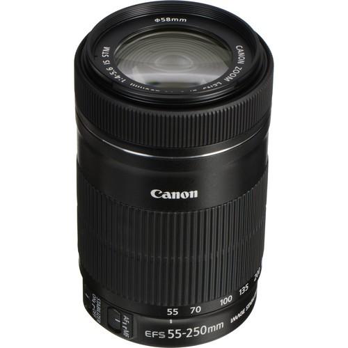 Câmera DSLR Canon EOS Rebel T7 com kit de lentes de 18-55mm e 55-250mm