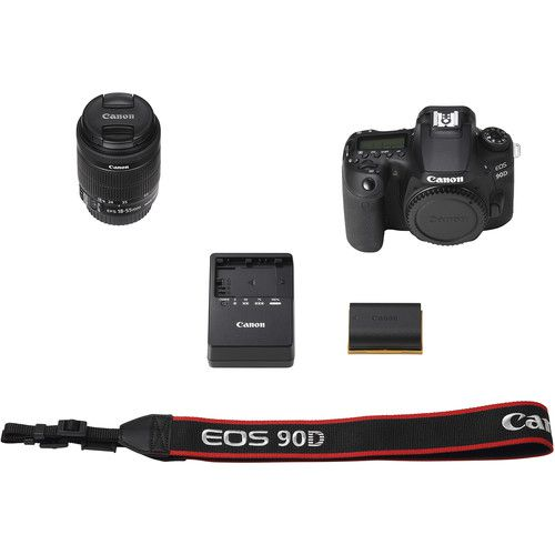 Câmera DSLR Canon EOS 90D com lente 18-55mm