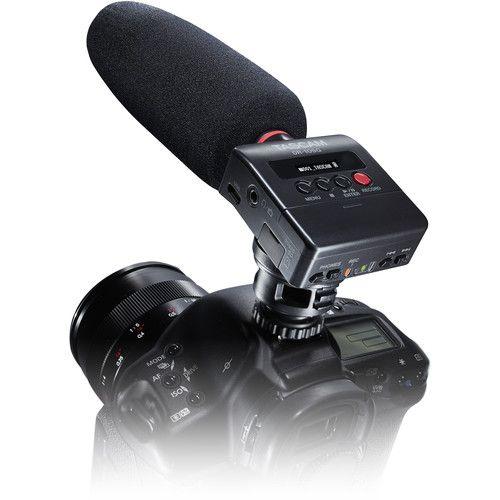 Gravador de Áudio Tascam DR-10SG Montável em Câmera com Microfone Shotgun