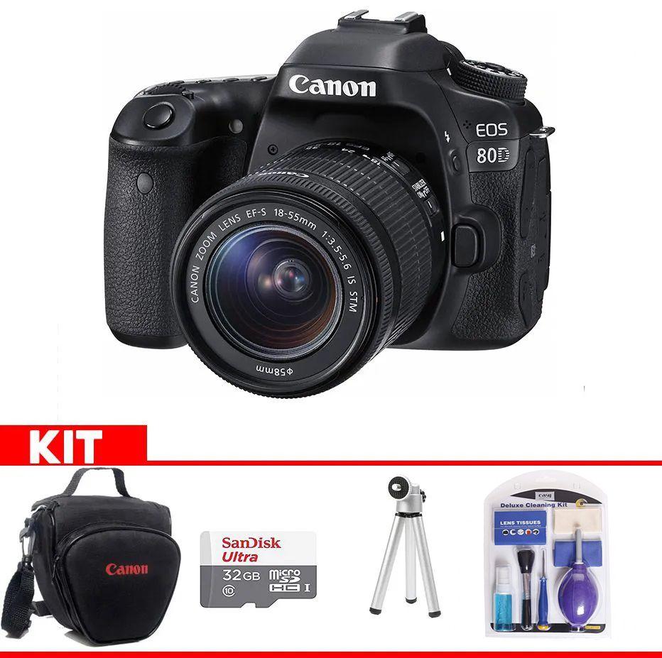 Kit Canon 80D + Bolsa Canon + cartão 32GB MicroSD + Mini tripé + Kit Limpeza