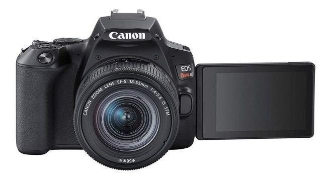 Kit Canon EOS Rebel SL3  + Bolsa Canon + cartão 32GB MicroSD + Mini tripé + Kit Limpeza