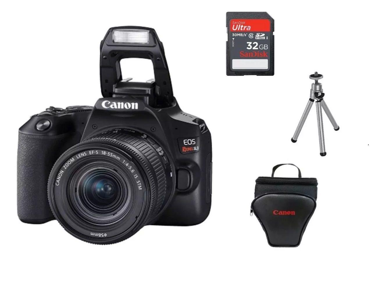 Kit Canon EOS Rebel SL3 com bolsa Canon + cartão 32GB Micro + Mini tripé