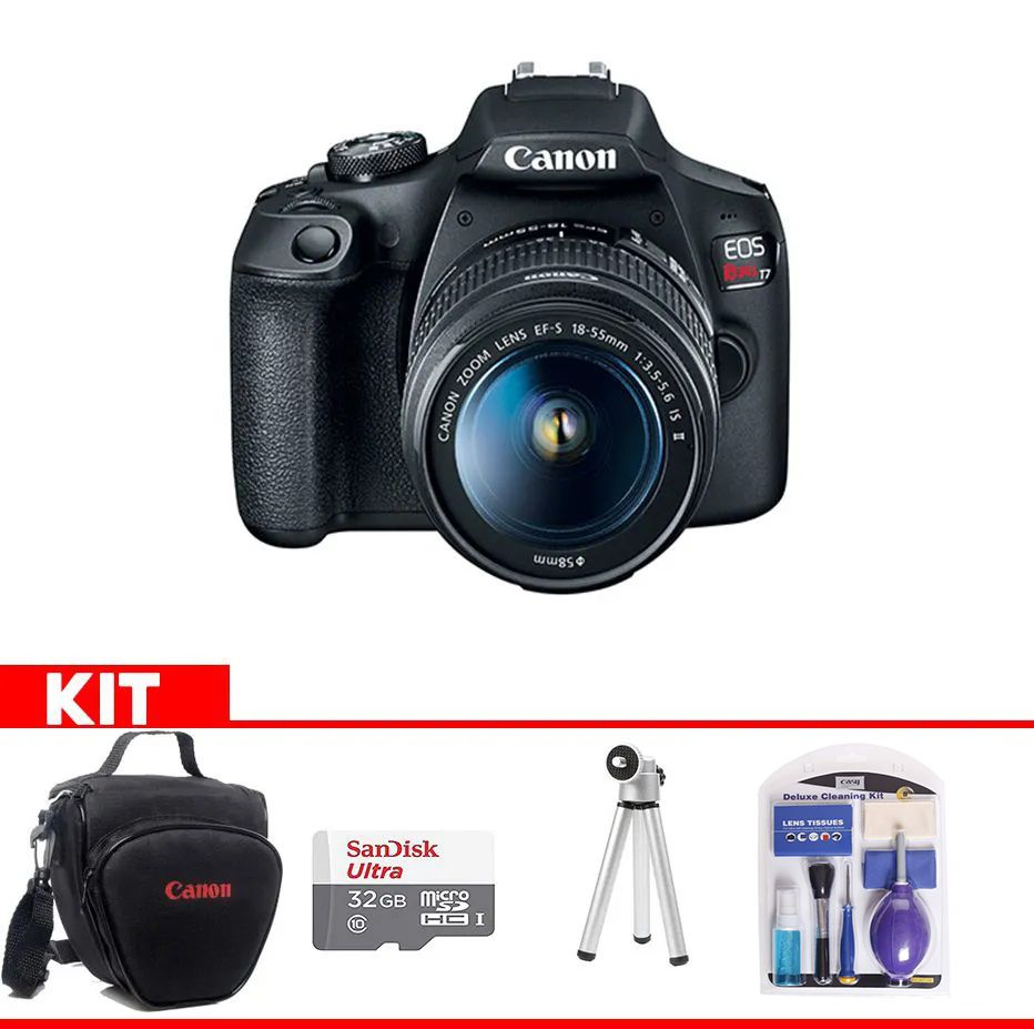 Kit Canon EOS Rebel T7 + Bolsa Canon + cartão 32GB MicroSD + Mini tripé + Kit Limpeza
