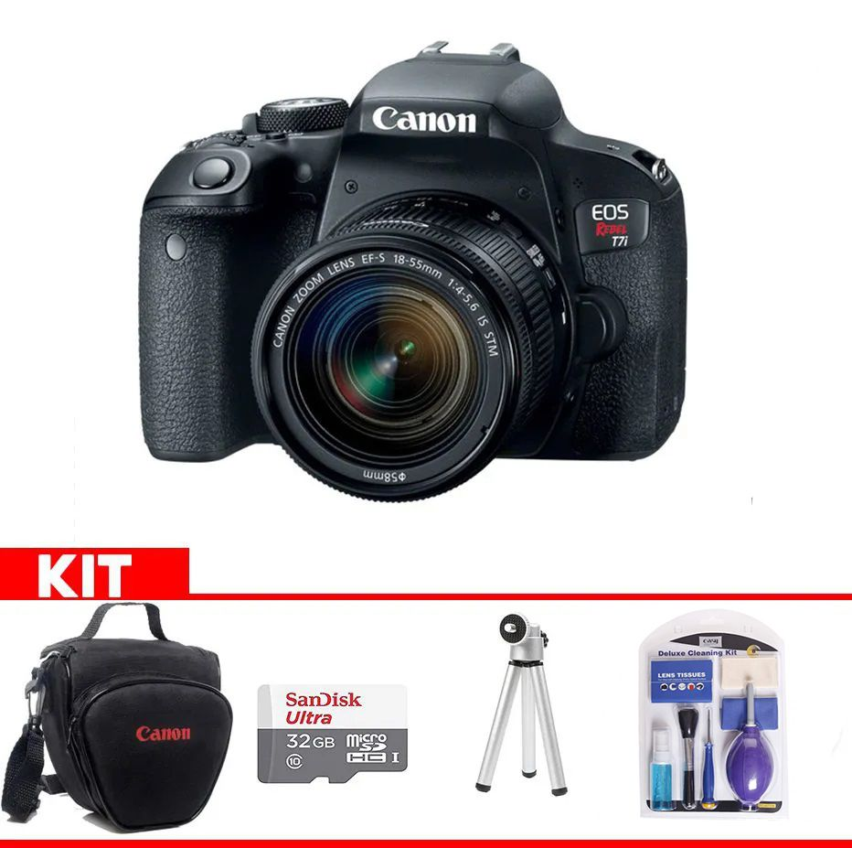 Kit Canon EOS Rebel T7i + Bolsa Canon + cartão 32GB MicroSD + Mini tripé + Kit Limpeza