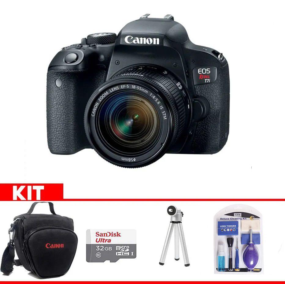 Kit Canon EOS Rebel T7i + Bolsa Canon + cartão 32GB MicroSD + Mini tripé + Kit Limpeza