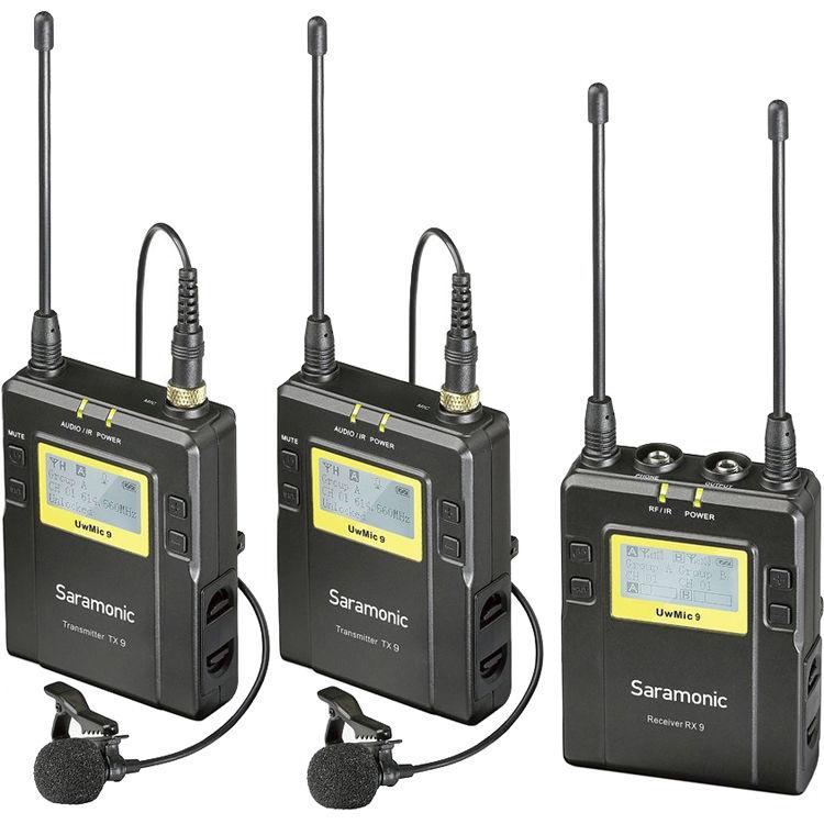 Microfone Lapela Duplo Saramonic UwMic9 TX9 TX9 RX9