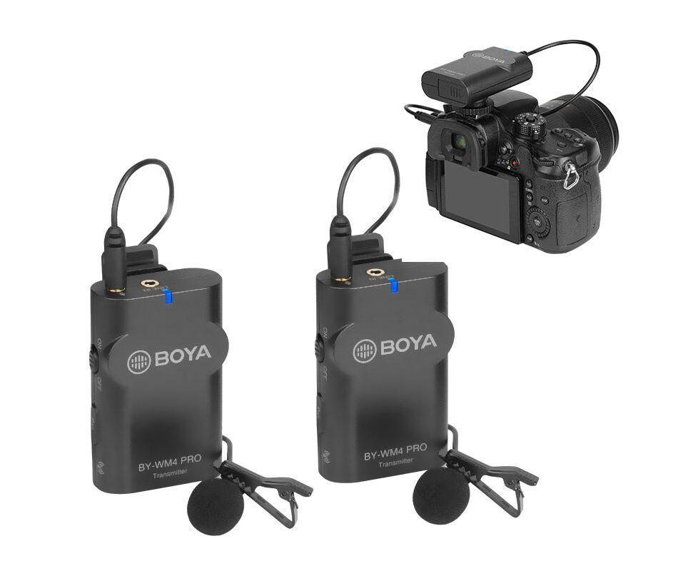 Microfone Lapela Duplo Sem Fio Para Smartphone E Câmeras Boya By-wm4 Pro-k2