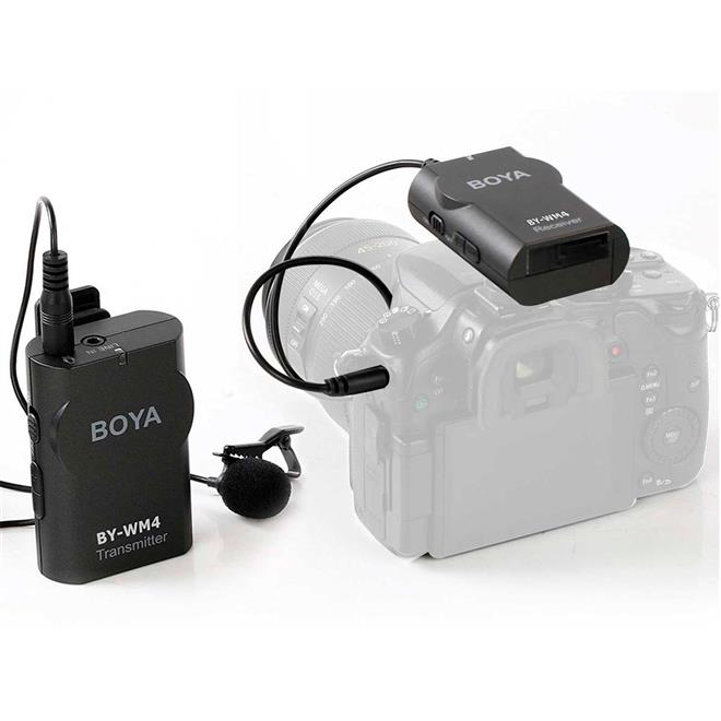 Microfone Lapela Sem fio Boya BY-WM4 para Smartphone e Câmera