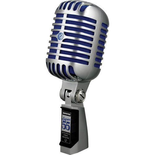 Microfone Shure Super 55 Dinâmico Supercardioide  (Cromado com Espuma Azul)