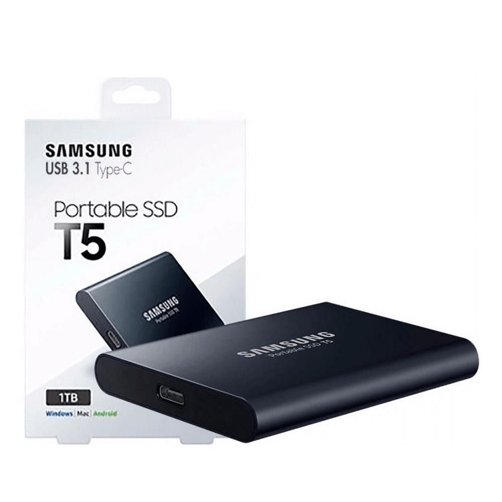 Sansung SSD T5 - Portable SSD externo  MU-PA1T0B 1TB preto Novo