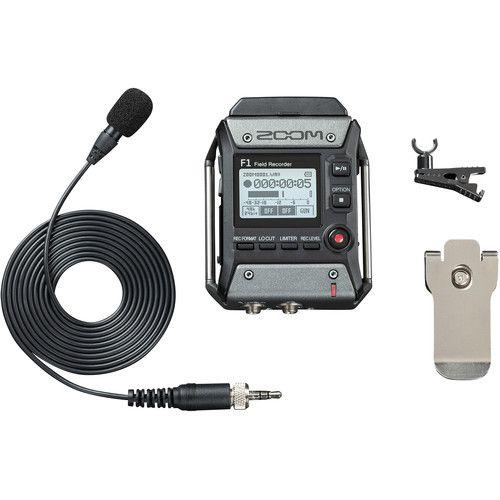 Zoom F1-LP Gravador de campo portátil de 2 entradas e 2 entradas com microfone de lapela