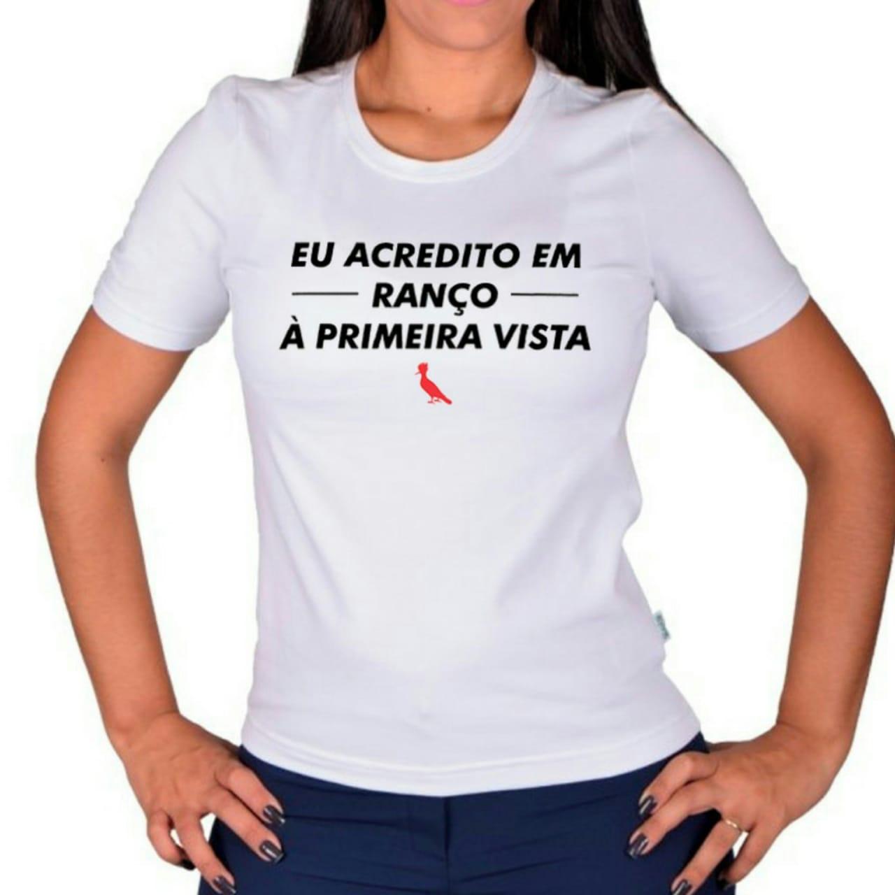 BABY LOOK 100% ALGODÃO PENTEADO BRANCA MARCA RANÇO PERSONALIZADA - FIO 30/1 - 160 DE GRAMATURA