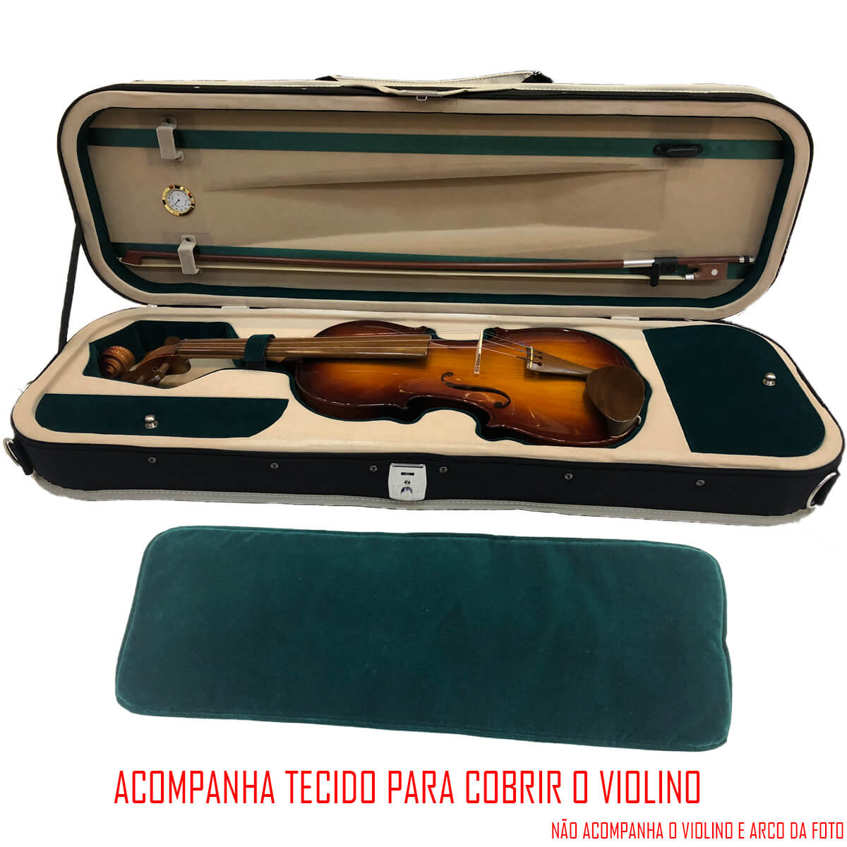 Estojo Para Violino 4/4 - Master Luxo Com Higrômetro - Verde