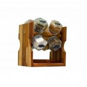 Porta Temperos em madeira 8 Potes Oestewood