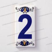 Número 2 para Casa Residência em Cerâmica Esmaltada 7,5 x 15 cm