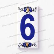 Número 6 para Casa Residência em Cerâmica Esmaltada 7,5 x 15 cm