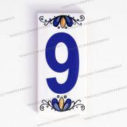 Número 9 para Casa Residência em Cerâmica Esmaltada 7,5 x 15 cm