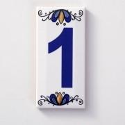 Número Para Casa Residência Ceramica Esmaltada Azul 7,5 x 15 cm