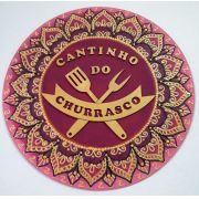 Placa Decorativa Cantinho do Churrasco Pintura Livre 35 cm CC-40