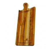 Tábua de Corte para Churrasco e Cozinha Preparar e Servir Madeira Teca 48,5 x 18 cm
