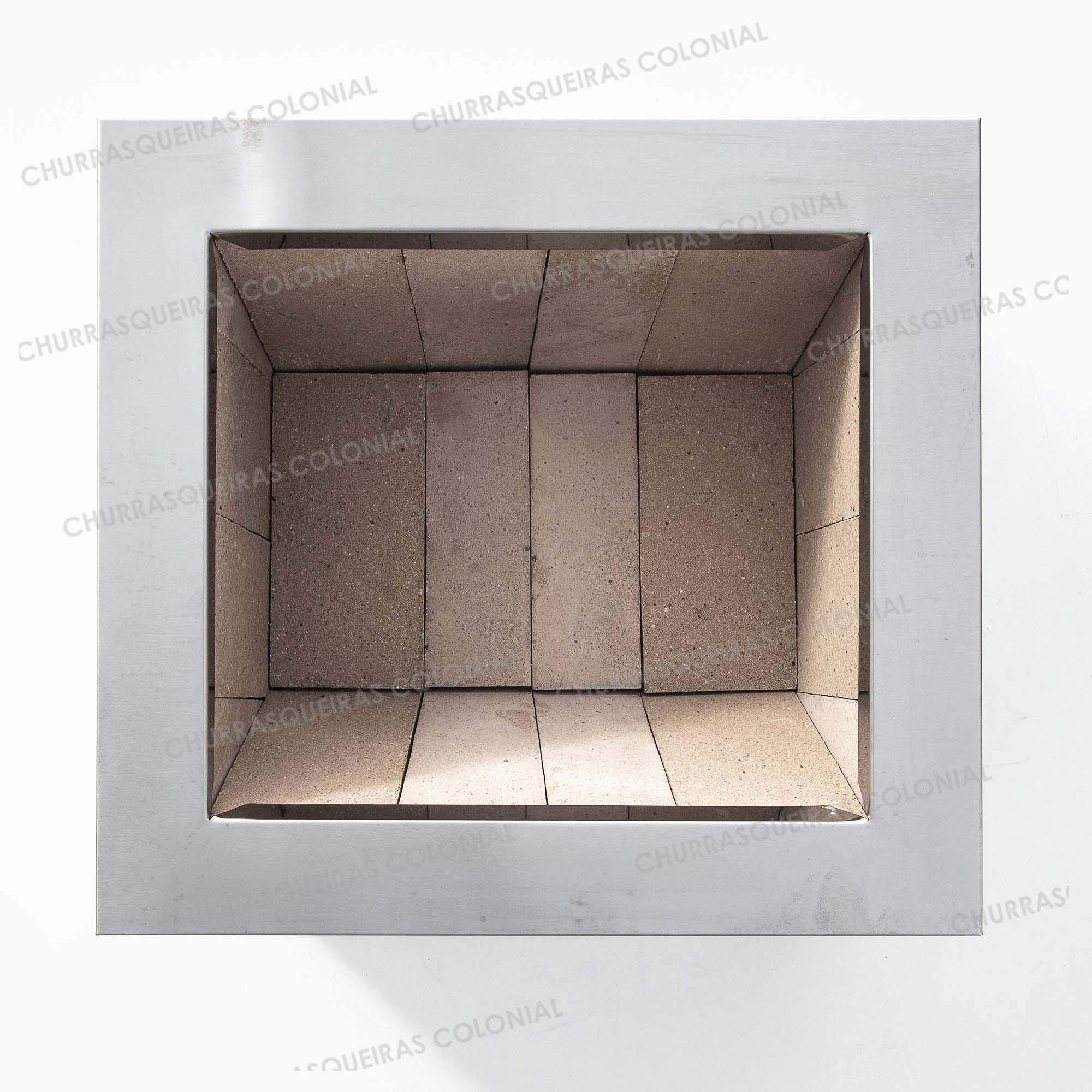 Braseiro de Embutir Cooktop em Aço Inox Caixa Dupla 54 X 49 cm para Churrasqueira