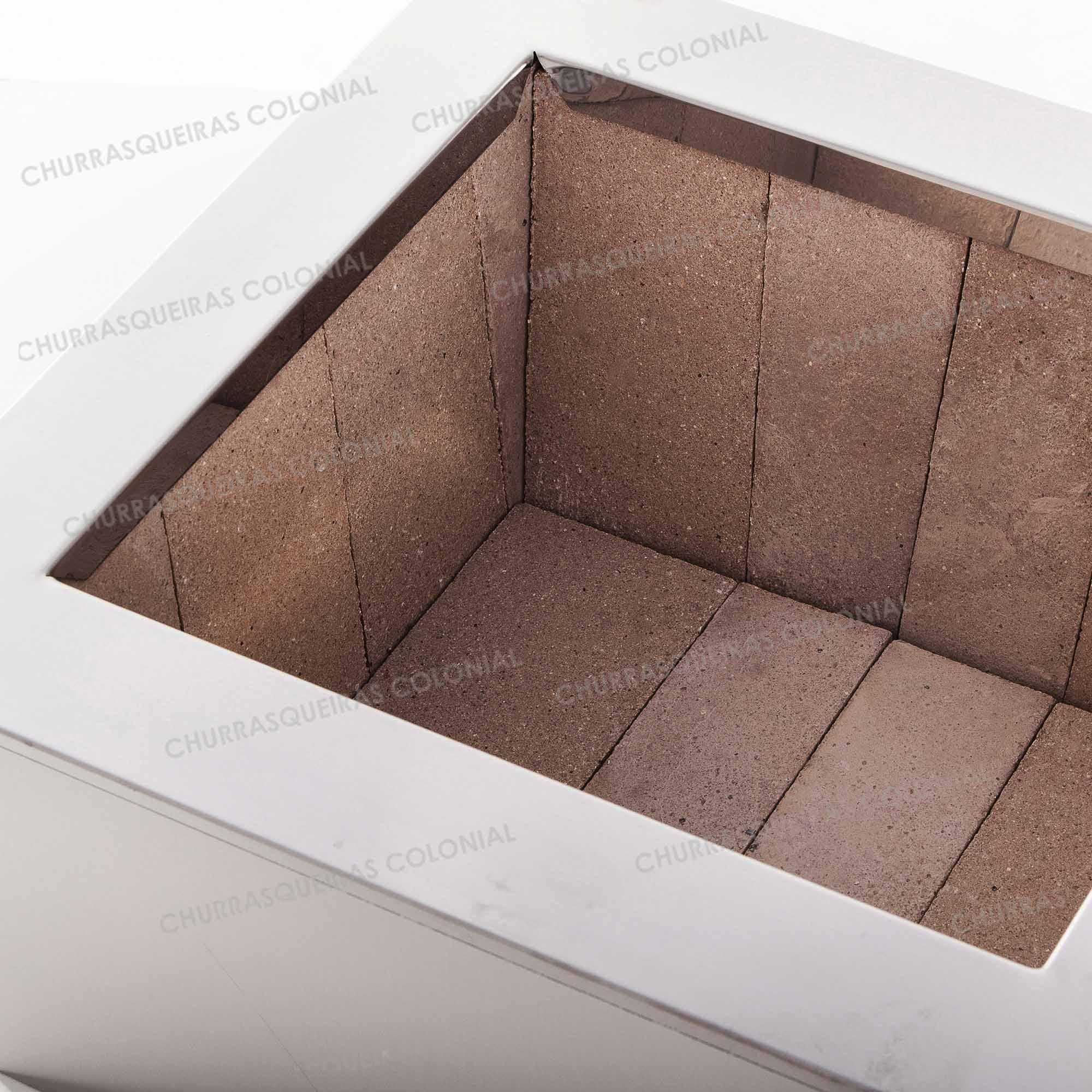 Braseiro de Embutir Cooktop em Aço Inox Caixa Dupla 64 x 54 cm