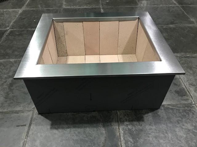 Braseiro de Embutir Cooktop em Aço Inox Caixa Dupla 64 x 54 cm para Churrasqueira