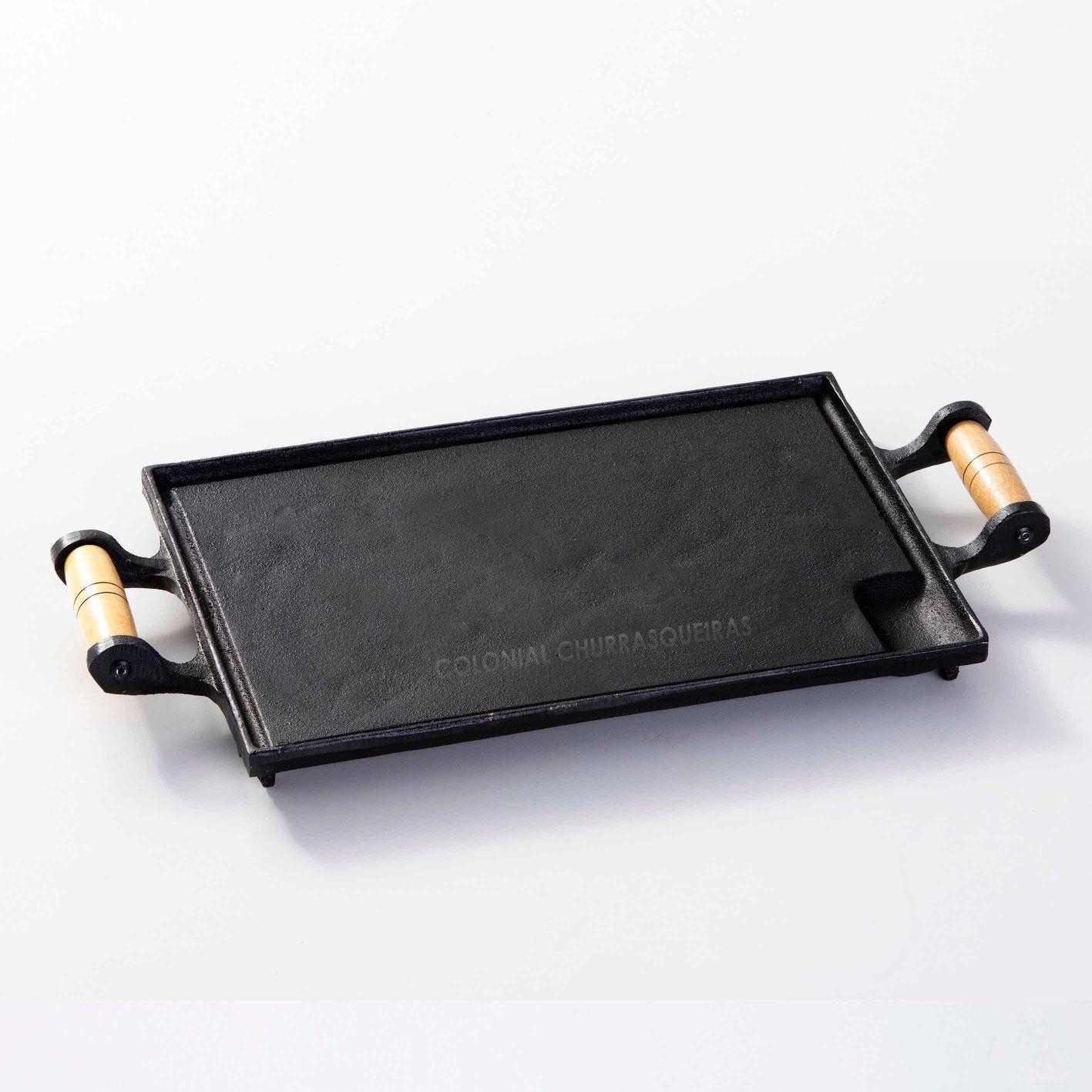 Chapa Bifeteira Ferro Fundido Retangular Lisa 25 x 34 cm com Alças