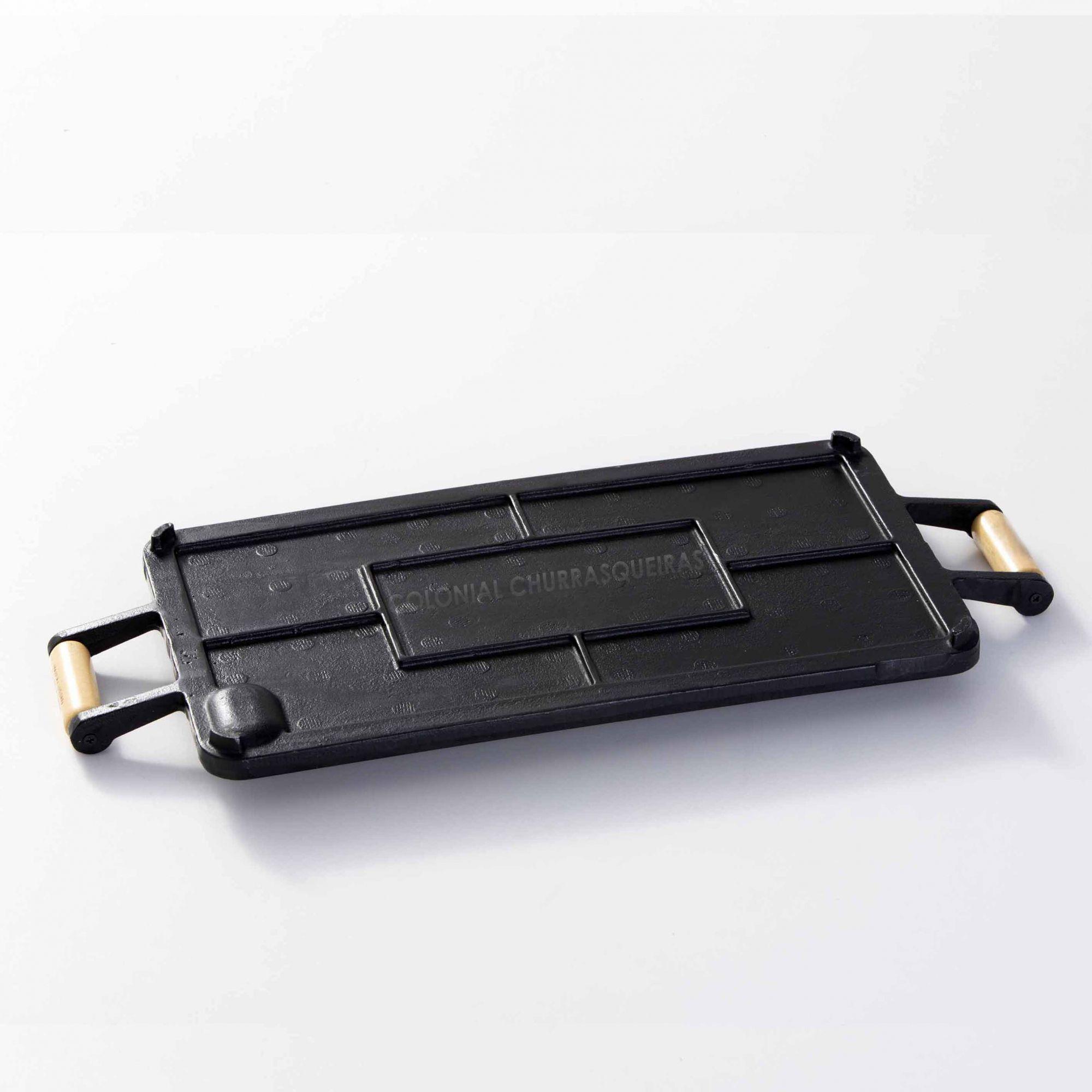 Chapa Bifeteira Ferro Fundido Retangular Lisa 25 x 45 cm com Alças