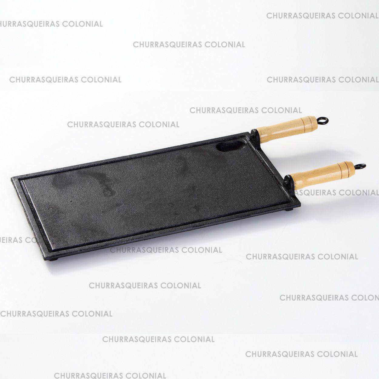 Chapa Bifeteira Lisa de Ferro Fundido 25 x 45 cm + Amassador Bifes