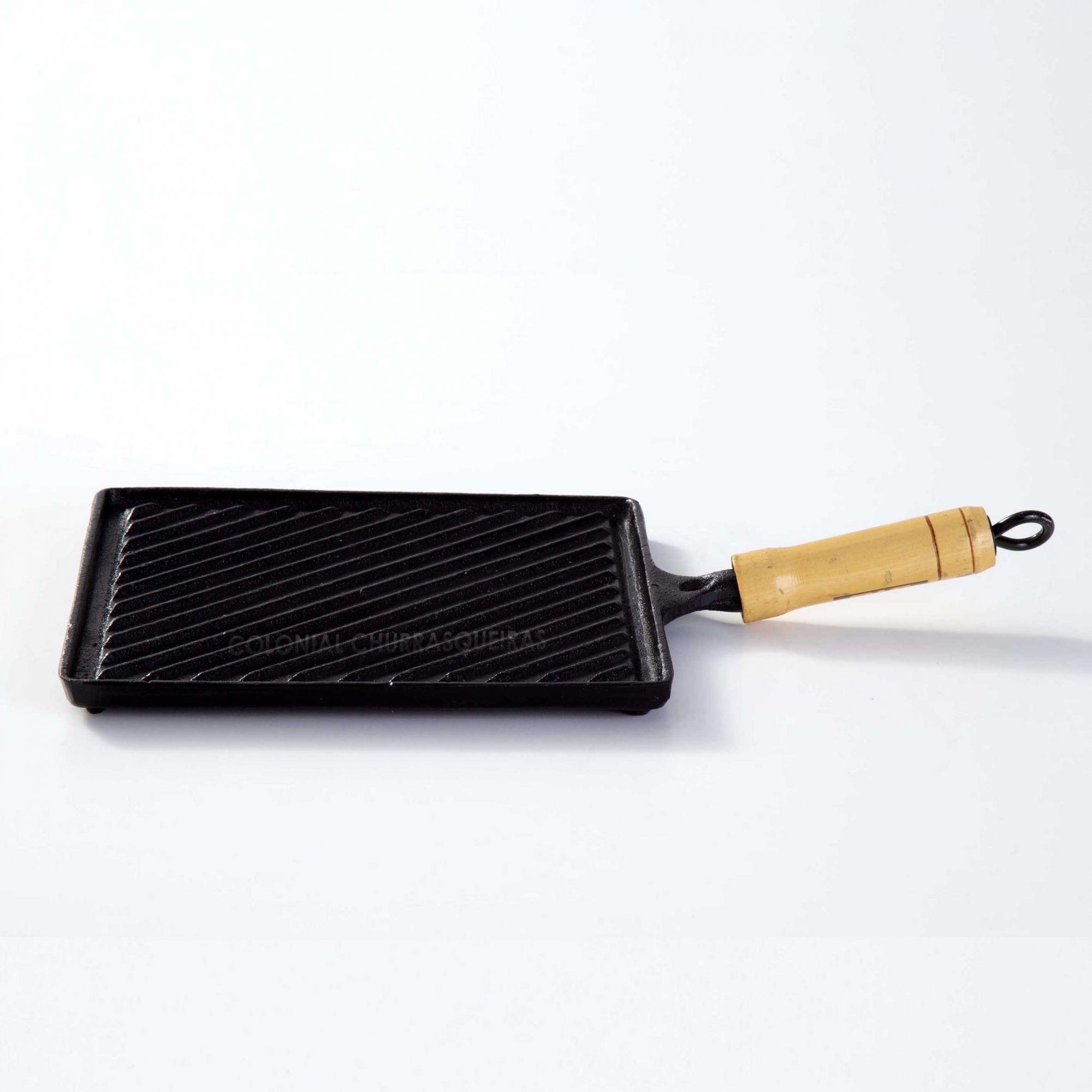 Chapa Bifeteira Quadrada Estriada de Ferro Fundido 25 cm