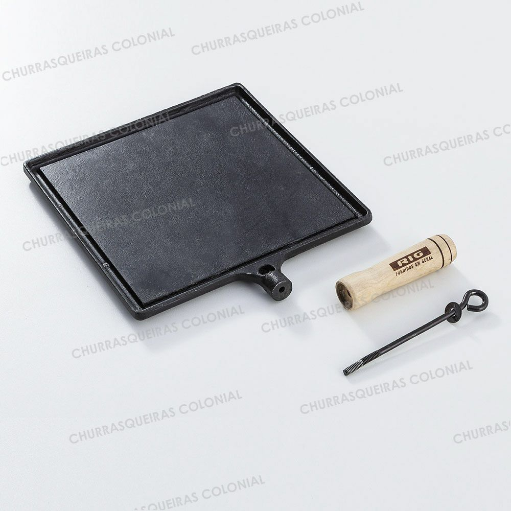 Chapa Bifeteira Quadrada Lisa de Ferro Fundido 25 cm