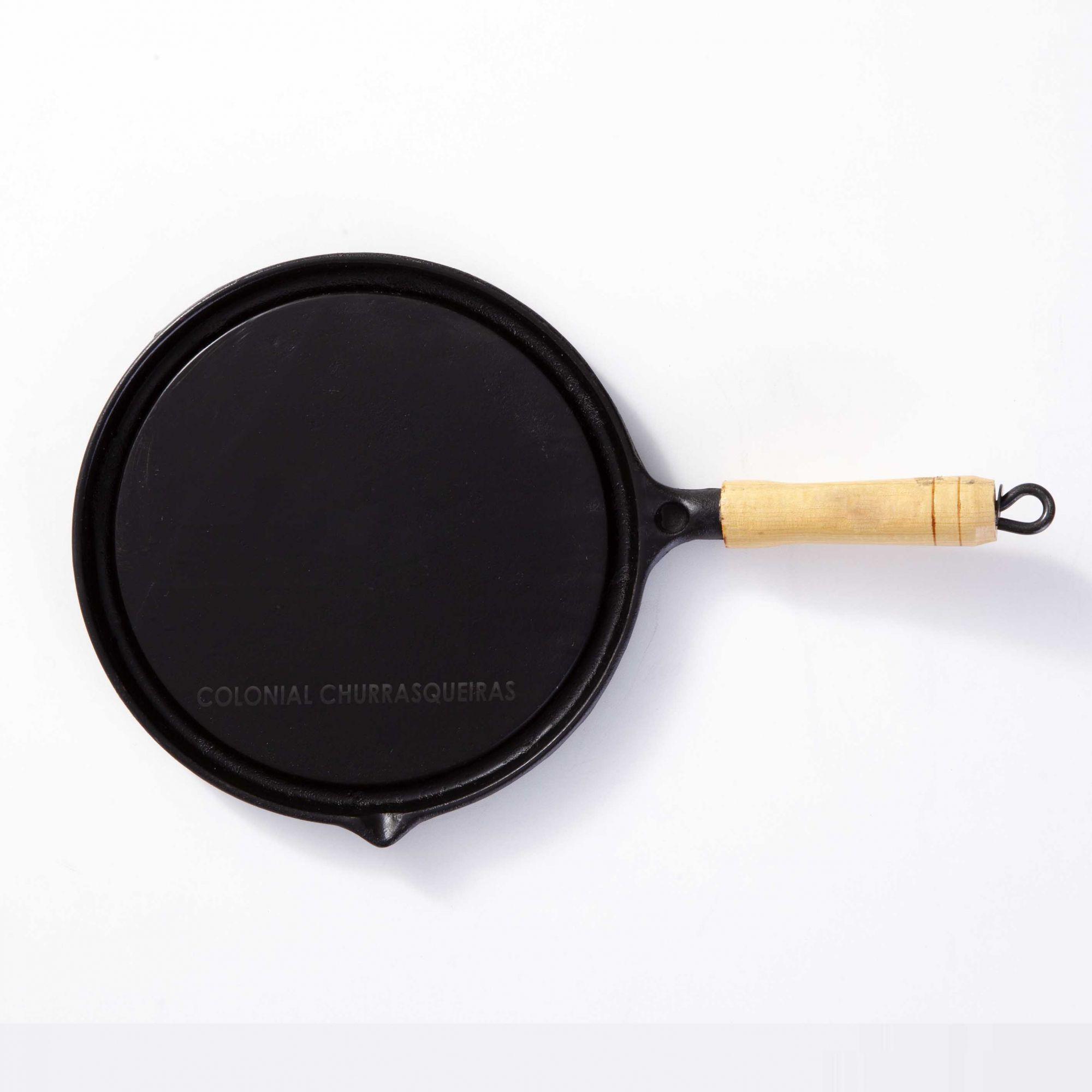 Chapa Bifeteira Redonda Lisa de Ferro Fundido 25 cm