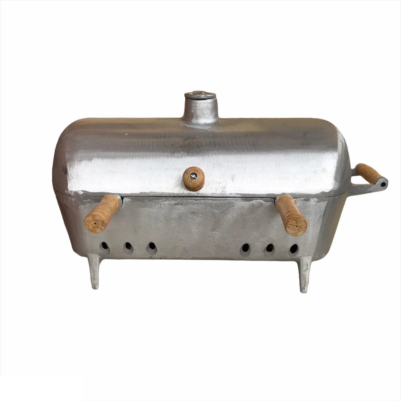 Churrasqueira a Bafo Aluminio Fundido com Grelha e Alças de Madeira