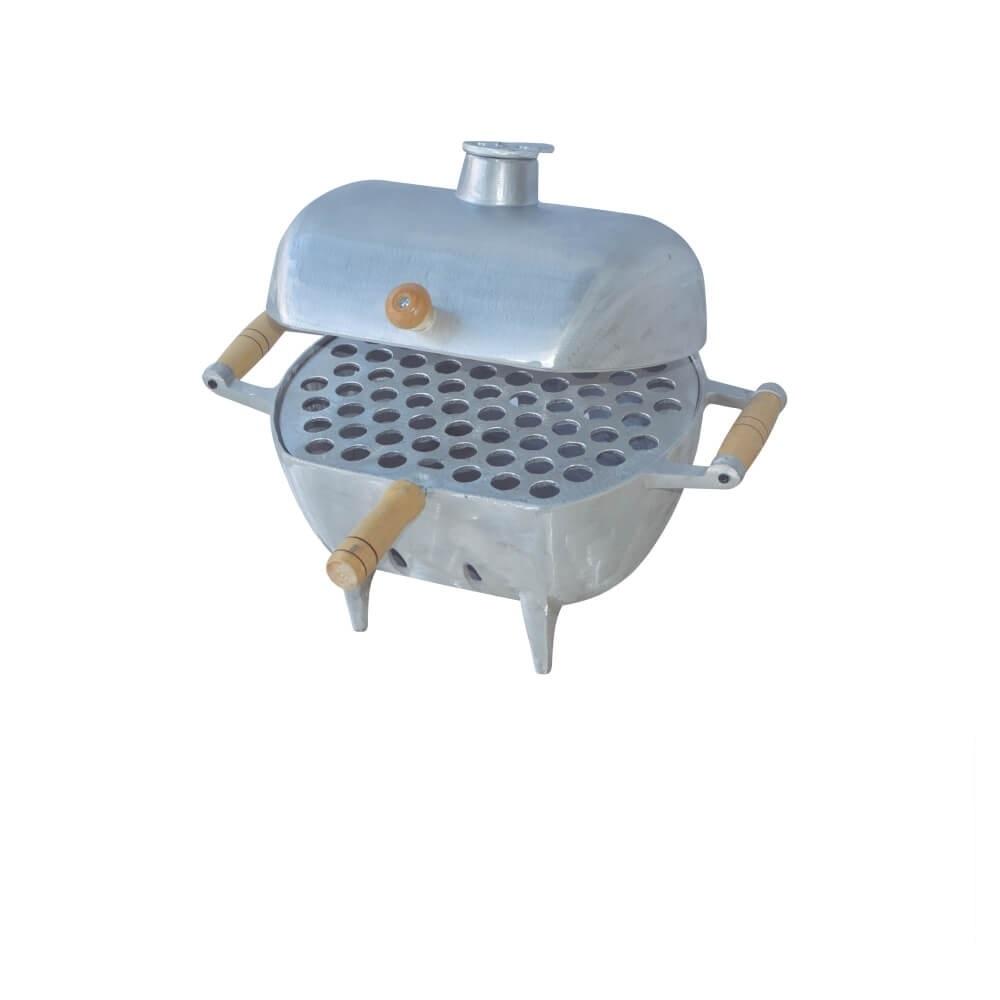 Churrasqueira a Bafo Aluminio Fundido com Grelha e Alças de Madeira Pequena